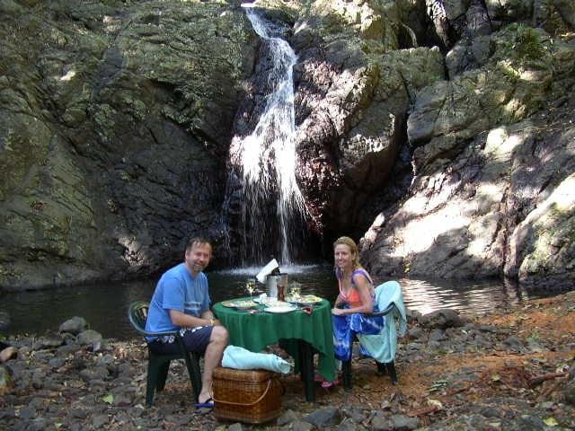 Paul and Madeline at Waterfall Lunch, Namale Resort, Vanua Levu, Fiji