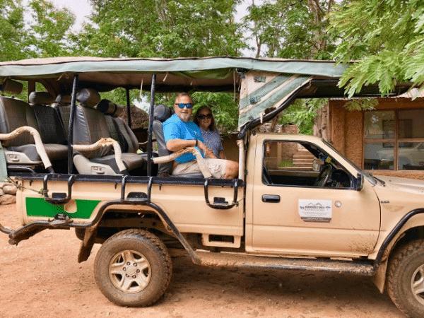 Paul and Madeline on Safari, Mikumi National Park, Tanzania