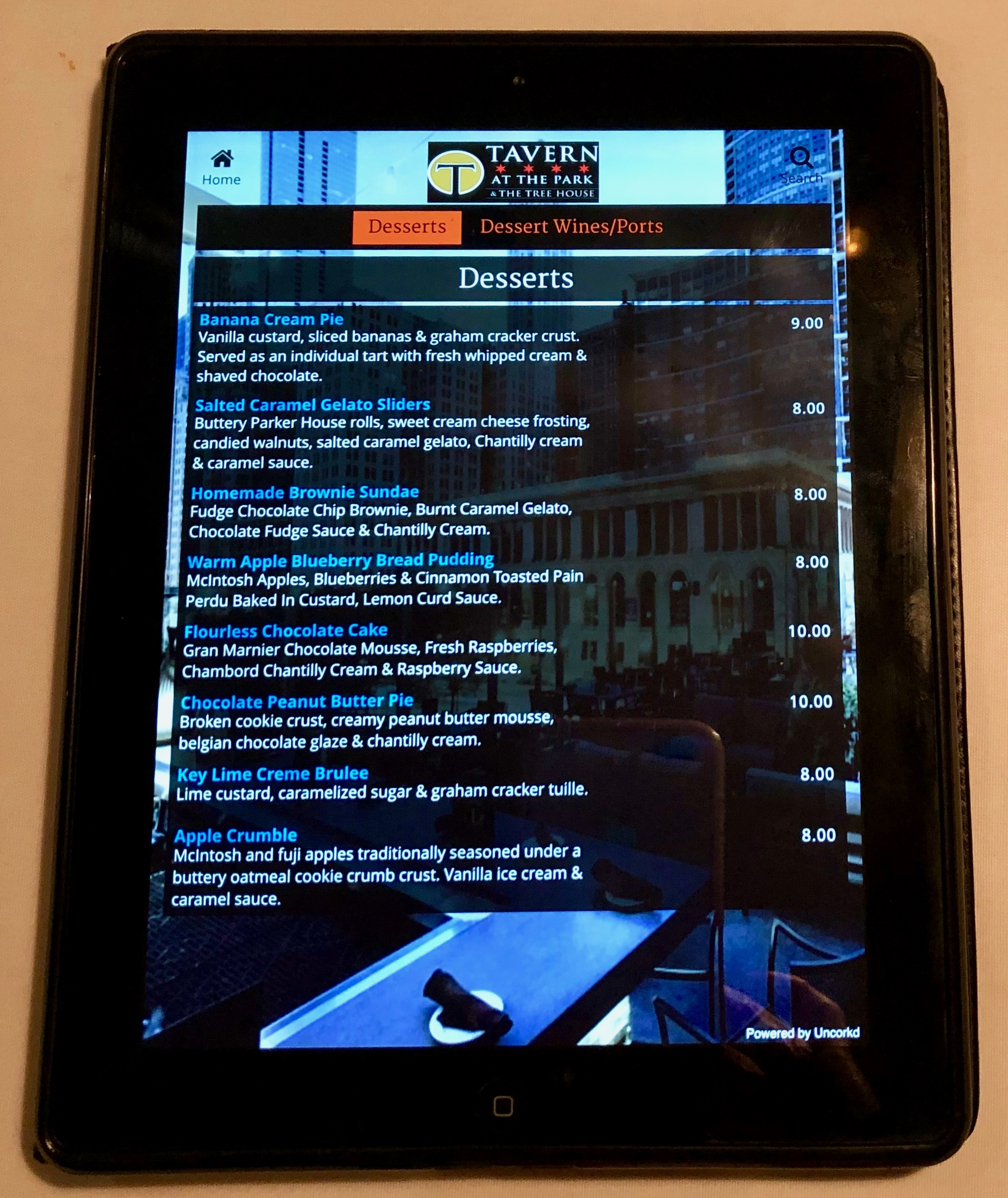 iPad dessert menu, Tavern at the Park Restaurant, Chicago, Illinois
