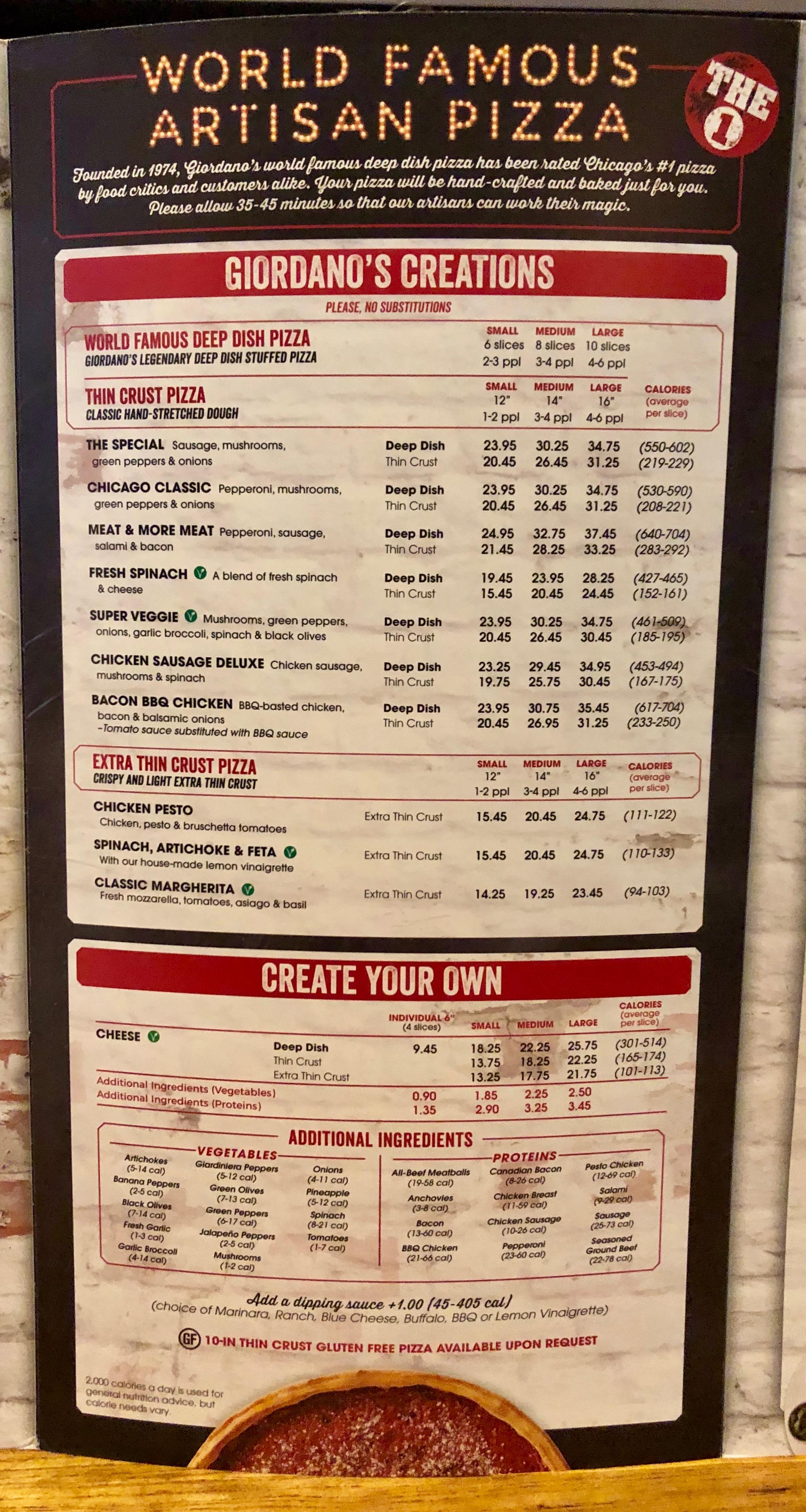 Menu, Giordano's Pizza, Chicago, Illinois
