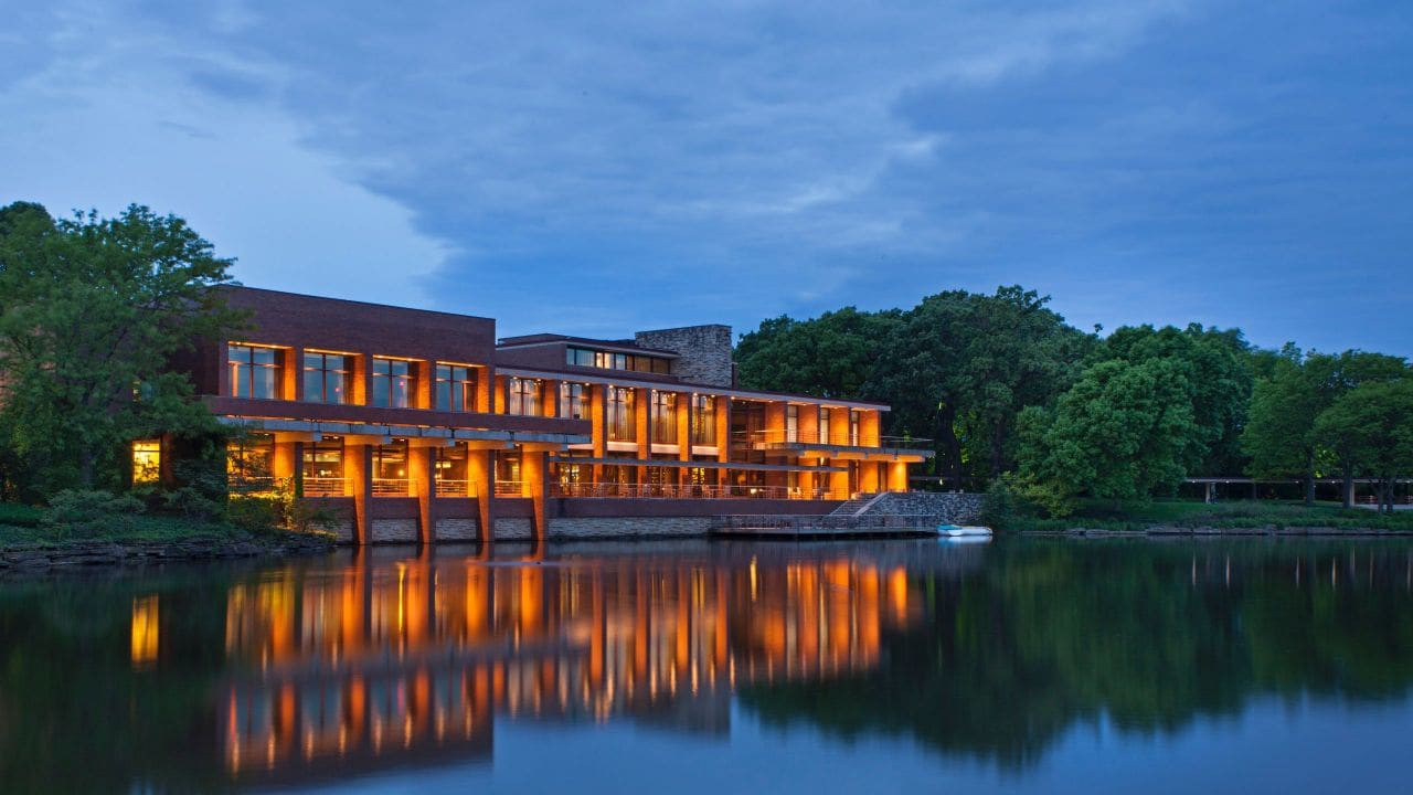 Night view of the Hyatt Lodge at McDonald's Campus, Oak Brook, Illinois