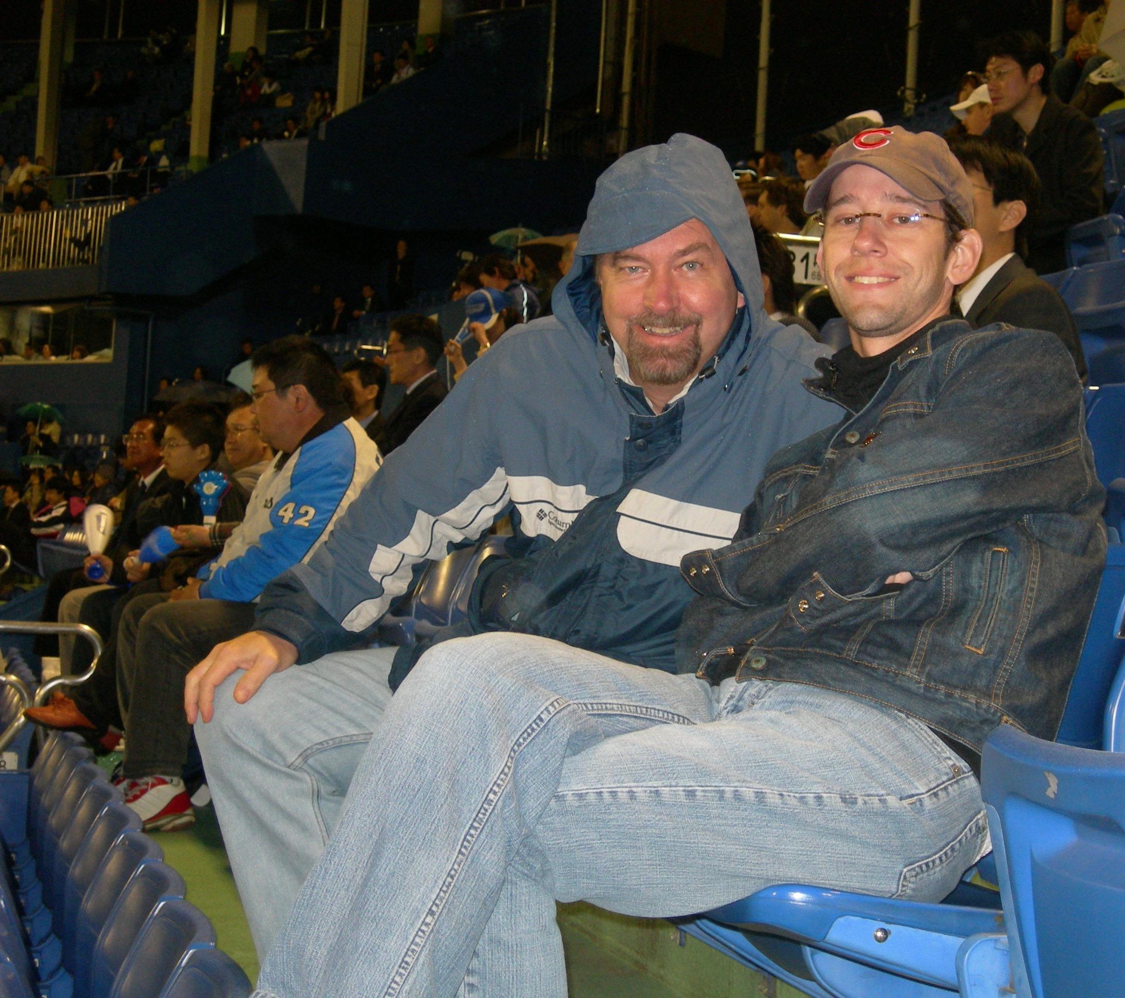 Jason And Paul Bundled up at a Tokyo Yakult Swallows Baseball Game, Meiji Jingu Stadium, Tokyo, Japan
