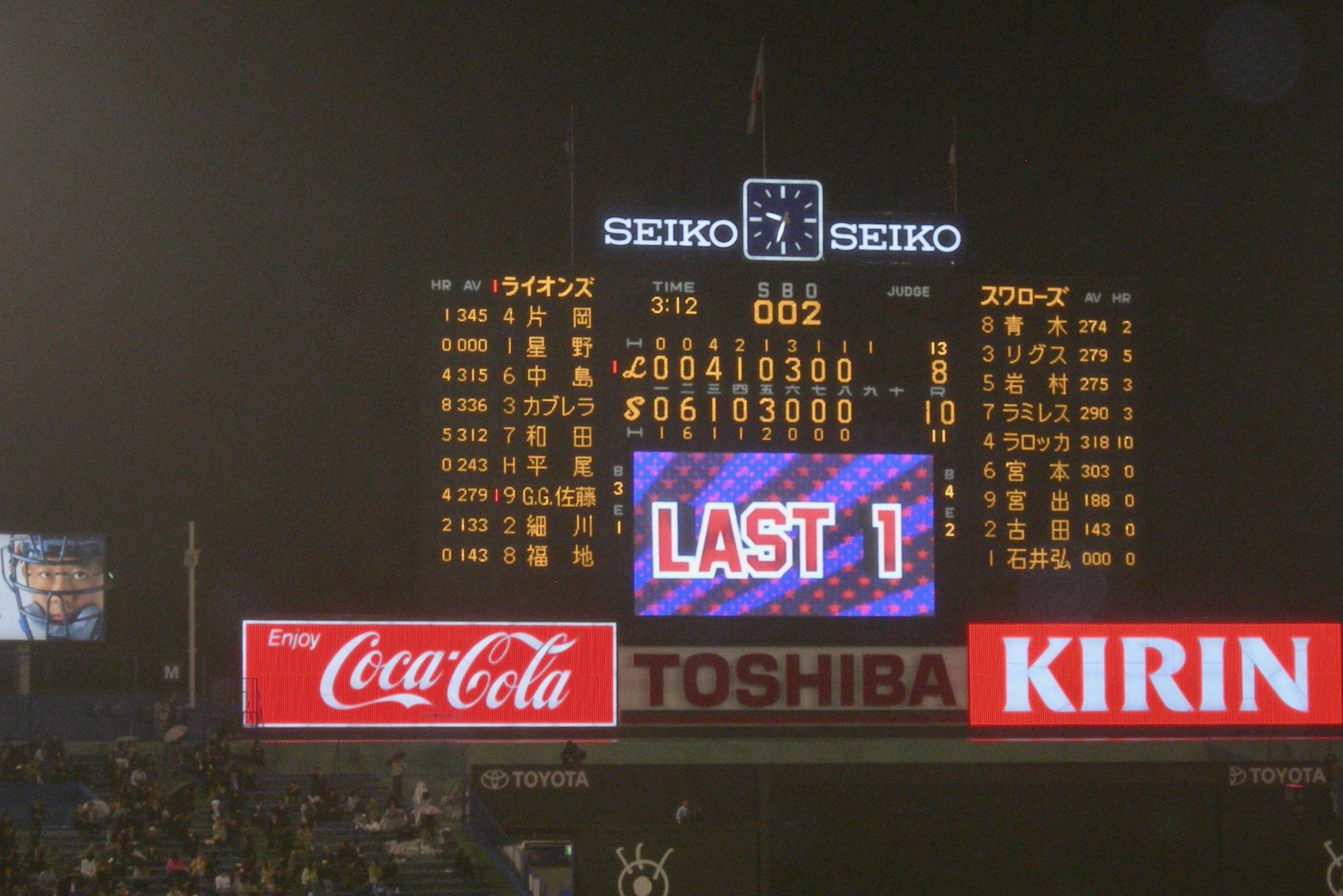 Tokyo Swallows Last Inning At Baseball Game Tokyo Japan