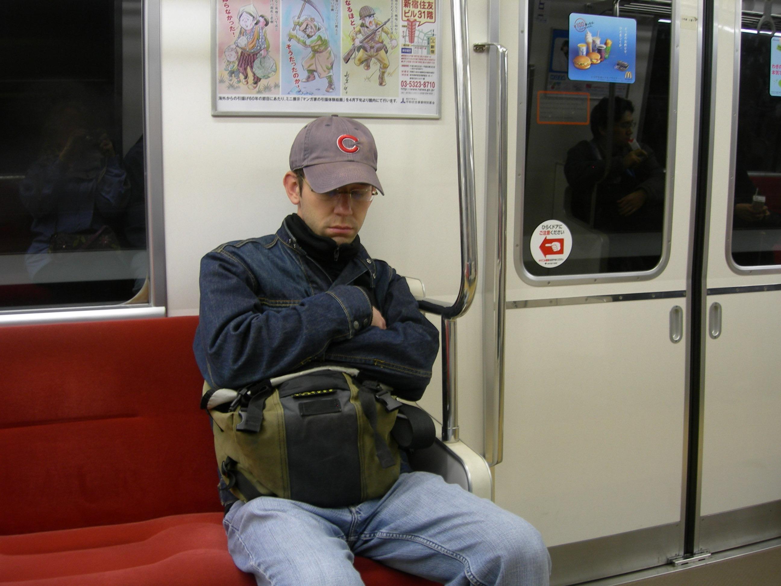 Jason Asleep on the Tokyo Metro, Japan